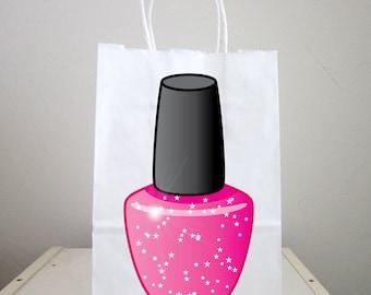 Spa Goody Bags, Nail Polish Goody Bags, Spa Party Goody Bags, Spa Party Favor Bags, Spa Party Favors - Nail Polish Favor Bags