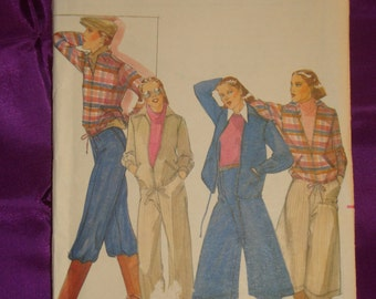 1970s 70s Vintage Front Zip Drawstring Waist Jacket Culottes or Gauchos n Pants UNCUT Butterick Pattern 5571 Bust 38 Inches 97 Metric