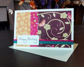 Happy birthday A6 card, handmade card, flower card, butterfly card