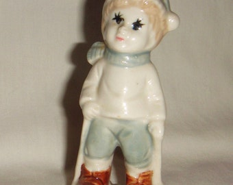 Victorian Boy on Skis Figurine Porcelain Vintage inv1727