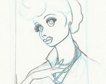 LUCILLE BALL with pearls original pencil thumbnail drawing for the US postage stamp
