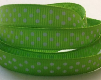 """5 Yards 3/8"""" Apple Green Swiss Dot White Grosgrain Ribbon-Hair Bow Supply-Sewing-Printed-Fabric-Supplies-Craft"""