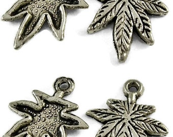 10 x Antique Silver Cannibis Leaf Charms - LF CF - Leaves - Marajuna Leaf - 21 x 15.5mm - TS307