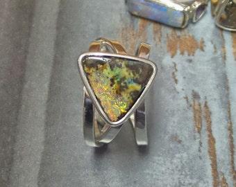 Opal Ring, Boulder Opal Ring, Australian Boulder Opal Ring, Orange Green Opal, Handmade Opal Ring, Sparkling Opal Ring, 3 Band Ring