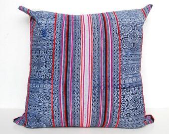 Hmong Pillow, Embroidered Hmong Pillowcase, Indigo Batik Pillow, Hmong Floor Pillow, Hmong Pillowcase, Indigo Pillowcase, Ethnic Pillow