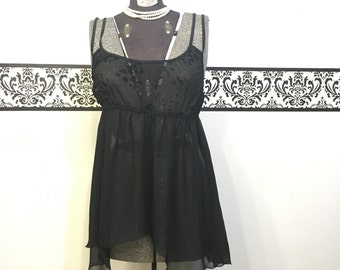 1980's Black Leopard Babydoll Teddy by Fantasy Lingerie, Size Extra Large, Vintage Pin Up Negligee, Boudoir Bridal Lingerie, Boudoir Teddy