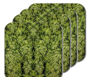Cannabis Coasters: Four Pack Marijuana Coasters in Amnesia Kush Marijuana Print, Coasters, Table Coasters, Ganja Coasters- MADE TO ORDER
