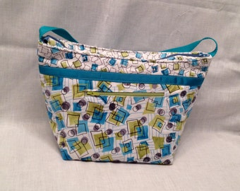"""Lunch Bag: """"Three Square Meals"""" Washable insulated lunch bag with drawstring closure at the top."""