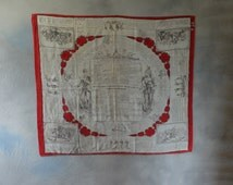 Early French military instruction handkerchief 1870's, military collectible, fathers day, gift