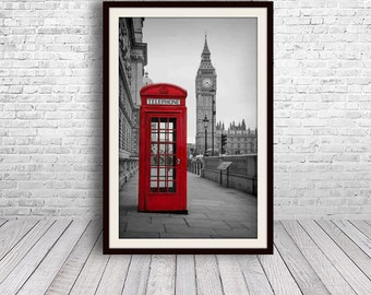 London Print, Red Telephone Booth, Big Ben, Travel Photography, Black and White, Large Wall Art, London Art, Fine Art Photography