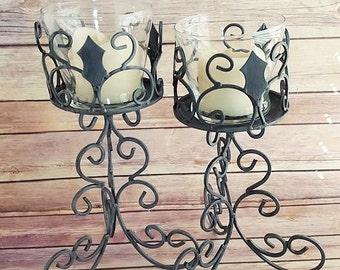 Gothic Candle Holders | Wrought Iron Candle Holders | Medieval Candle Holders | Gothic Home Decor | Medieval Home Decor | Up-Cycled