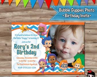 BUBBLE GUPPIES Birthday Invitation, Bubble Guppies Photo Birthday Invite, Bubble Guppies Invitation, Invite - Digital Printable, JPG File