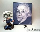 "Captured Corpse Albert Einstein. Cute 4"" polmer clay zombie figure. Unique Math Science Horror Halloween Personal Gift."
