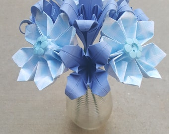 Blue Origami Flower Arrangement