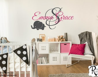 Personalized Name with Initial and Elephant N3 for Baby Girls or Baby Boys Vinyl Wall Decal