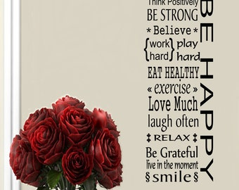 Be Happy FLR1 Family Inspirational Wall Decal