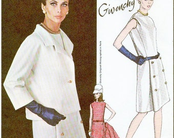 60s MOD Givenchy Dress and Jacket Pattern VOGUE PARIS Original 1791 Easy Day Into Evening Bust 34 Vintage Sewing Pattern + Label