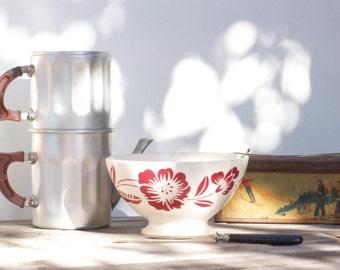 French vintage red soup bowl Digoin Sarreguemines. cafe au lait bwl Digoin