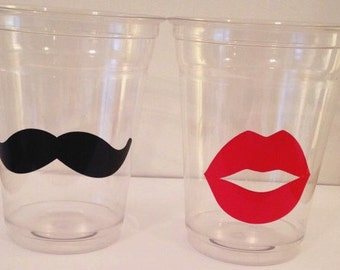 12 Gender Reveal Party Cups, Mustache and Lips, Gender Reveal Party Decor, Baby Shower, Baby Shower Party Decor, Tableware, Gentleman, Lady