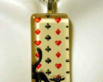 Playing card cat pendant and chain - CGP02-112