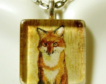 Red fox pendant and chain - WGP01-004