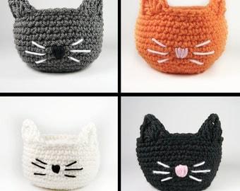 Cat Bowl - Cat Basket - small cat gift basket - crochet bowl - crochet basket - candy basket - office decor - crochet gift - handmade basket