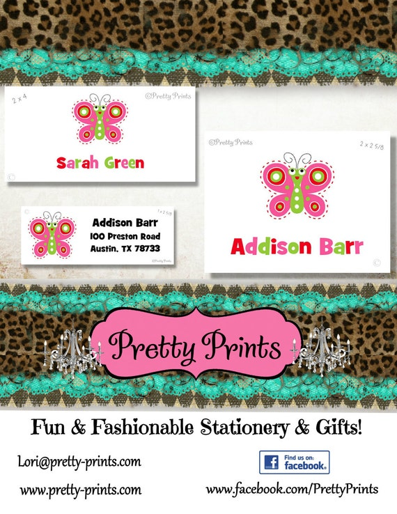Butterfly Stickers, School Labels, Back to School, Butterfly, Personalized Stickers, Personalized Labels, Butterfly Labels, Tags