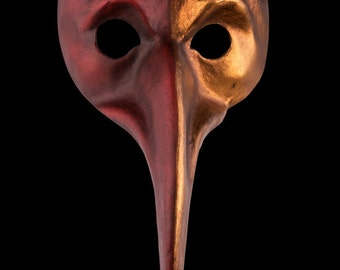 Venetian Mask Curved Zanni Parade Red and Gold
