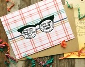 Hipster Valentine's Day card, in my eyes you are perfect, unisex plaid design, anniversary card, I love you, hipster glasses