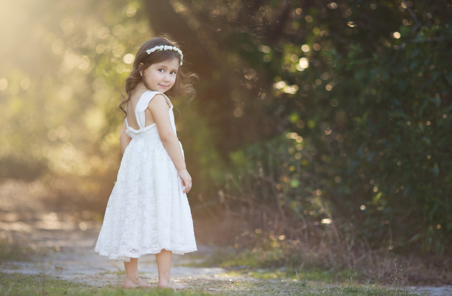ivory flower girl dress big bow back dress by CountryCoutureCo