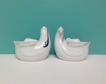 Vintage Dansk Ceramic Bird Planters Pair of Two Small Dishes or Votive Candle Holders