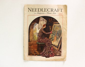 COMPLETE · Needlecraft Magazine August 1929 · Antique Vintage Sewing Crochet Home Decor Embroidery Fashion Plate