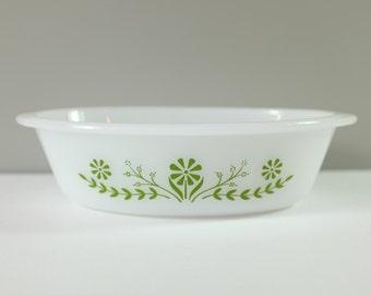 Vintage GLASBAKE Green Flower Pattern Oval Casserole Dish - Glasbake green flower -70' - Vintage Glasbake - Retro dish