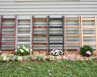 "Custom rustic wooden blanket ladder, towel ladder pine wood 4' x 19"" - red mahogany, black, gray, pecan, walnut, weathered, white"