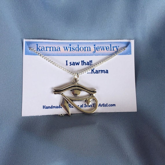Men's Eye of Horus Necklace Karma Wisdom Jewelry With Quote - I saw that..Karma- 30in 925 Silver Necklace Eye of Horus Personalized Gifts
