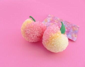Peach Pom Pom Earrings, Kawaii, Pastel Goth, Peachy Keen, Harajuku fashion, pastel princess, fruit Peach