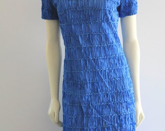 Mid-Century Electric Blue Worked Ribbon Short Sleeve 'Caledonia' Shift Dress