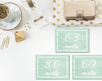 Mint Watercolor Baby Clothes Bin Organization Labels