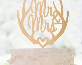 Gold or Glitter Deer Antler Mr & Mrs cake topper