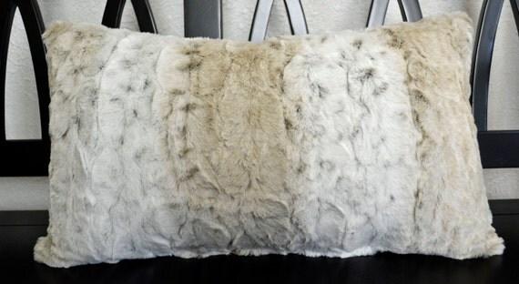 Lumbar Pillow Minky Pillow Snow Leopard Print Faux Fur