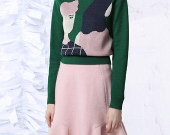 Fine Art Collection dark green base japanese cherry blossom pink portrait theme knitting sweater