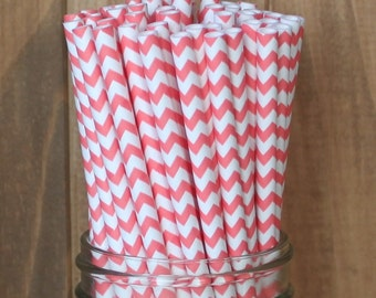 Coral Paper Straws, Coral Chevron Paper Straws, Coral Wedding, Baby Shower, Cake Pop Sticks, Coral Straws, Made in USA, Party Supplies
