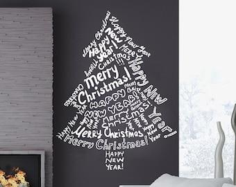 Wall Decals Merry Christmas Christmas Tree Christmas Decoration Decal Vinyl Sticker Home Art Bedroom Home Decor Living Room Art Murals MS686