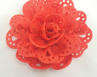 3 inch Coral cut out fabric flower - Large flowers for headband or hair clip diy - Wholesale craft flowers for wedding - Flower heads