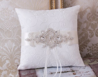 Wedding Ring Bearer Pillow, Rhinestone Ring Pillow, Wedding Ring Pillow, Rhinestone Wedding Pillow, Ivory or White Ring Cushion