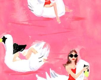 Art Print Wall Art: Swanning Around {cute art print, cute wall art, city wall art, pink art print}