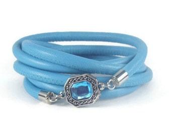 Blue Charm Bracelet, Leather Wrap Bracelet, Womens Charm Bracelet, Leather Jewelry, Bezel Charm Jewelry, Womens Leather Charm Bracelet