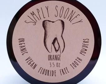 3.5oz Jar ORANGE Organic Vegan Fluoride Free Remineralizing Tooth Powder, Best Seller on Amazon! 100 grams, 3-6 months supply