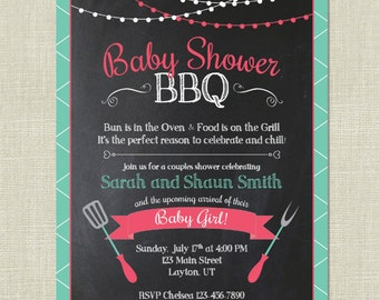 BBQ Baby Shower / Barbeque Babies / Couple Cook Out Grilling Invitation / Chalkboard Pink Green Girl Garland / Custom Colors / Printable