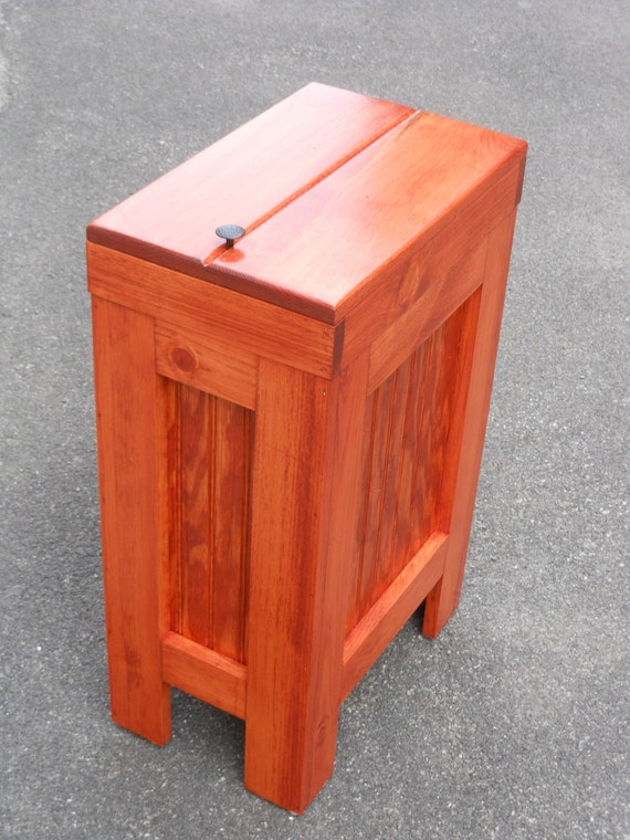 Kitchen Garbage Can Wood Trash Bin Gunstock By Buffalowoodshop